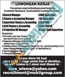 Bursa Kerja Lampung Terbaru Dari Industri Fiberboard Juni 2016