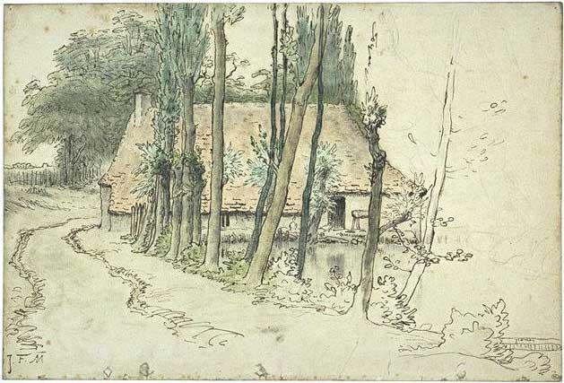 Жан Франсуа Милле - Окрестности Виши, дом около воды. 1867