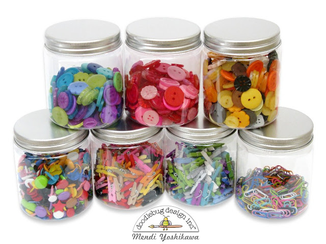 Mendi's Craft Room Embellishment Organization using Doodlebug Button Jars