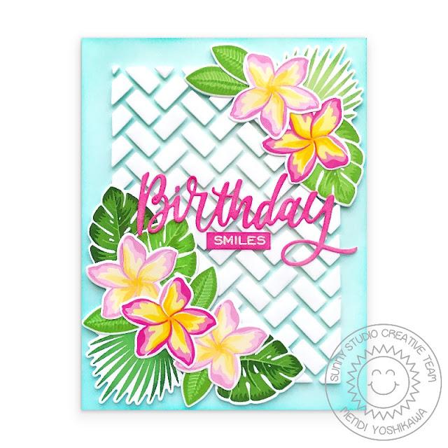Sunny Studio Blog: Tropical Flowers Birthday Card (using Radiant Plumeria, Frilly Frames Herringbone Dies & Birthday word from Blooming Frame Dies)