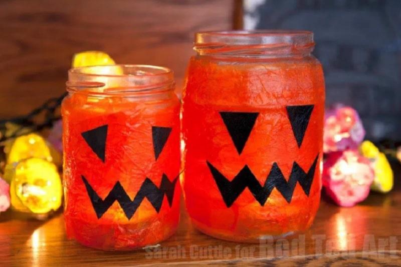 pumpkin mason jar candles