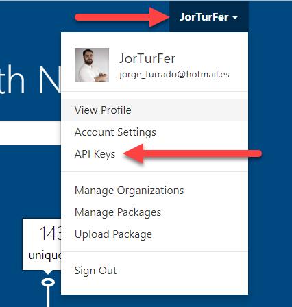 Menú API keys en Nuget.org