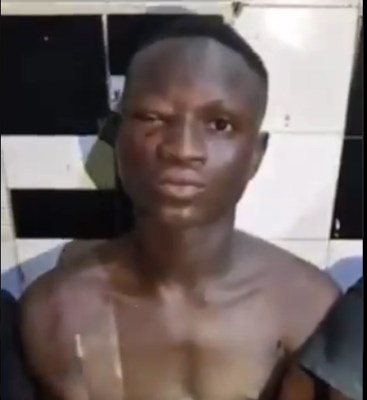 Vigilantes caught three armed robbers in Lagos as they get interrogated with their machetes