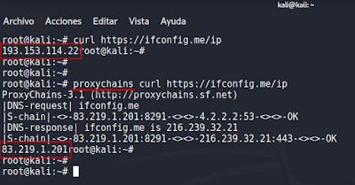 IP del proxy al visitar ifconfig.me