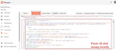 Pasang Template Langsung melalui edit html