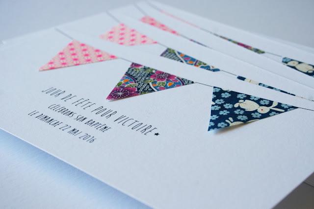 faire-part de baptême fille vintage ballotin cadeau invité ruban papier japonais sur mesure raffiné fait main haut de gamme atelier fleur de pommier
