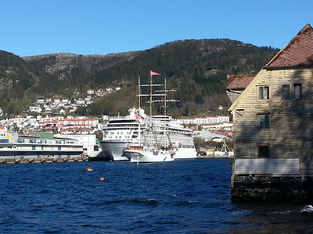 3-masted tall ship Statsraad Lehmkuhl sailing into Bergen, Norway on a ski & sail trip
