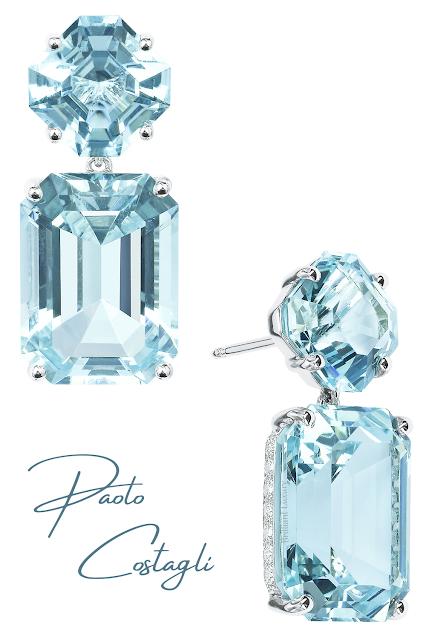Paolo Costagli aquamarine diamond earrings #brilliantluxury