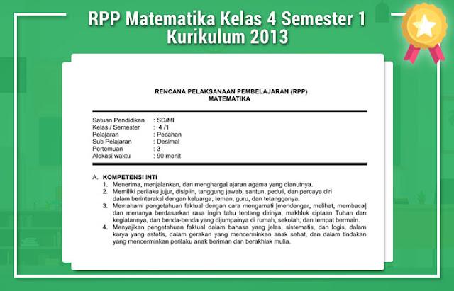 RPP Matematika Kelas 4 Semester 1 Kurikulum 2013