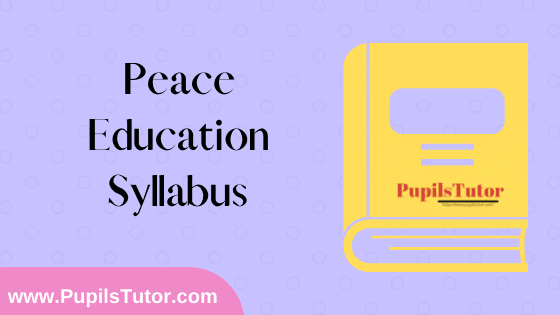 Peace Education Syllabus, Course Content, Unit Wise Topics And Suggested Books For B.Ed 1st And 2nd Year And All The 4 Semesters In English Free Download PDF