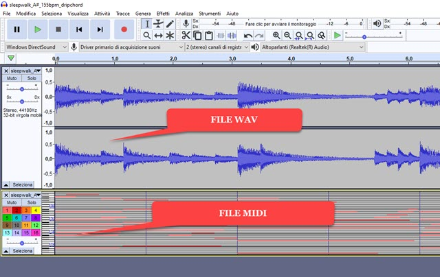 file audio midi e wav a confronto in audacity