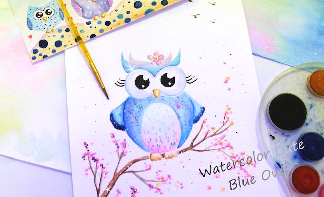 Little Cute Blue Owl Painting Process
