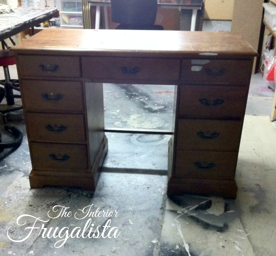 Vintage Executive Wooden Desk Before