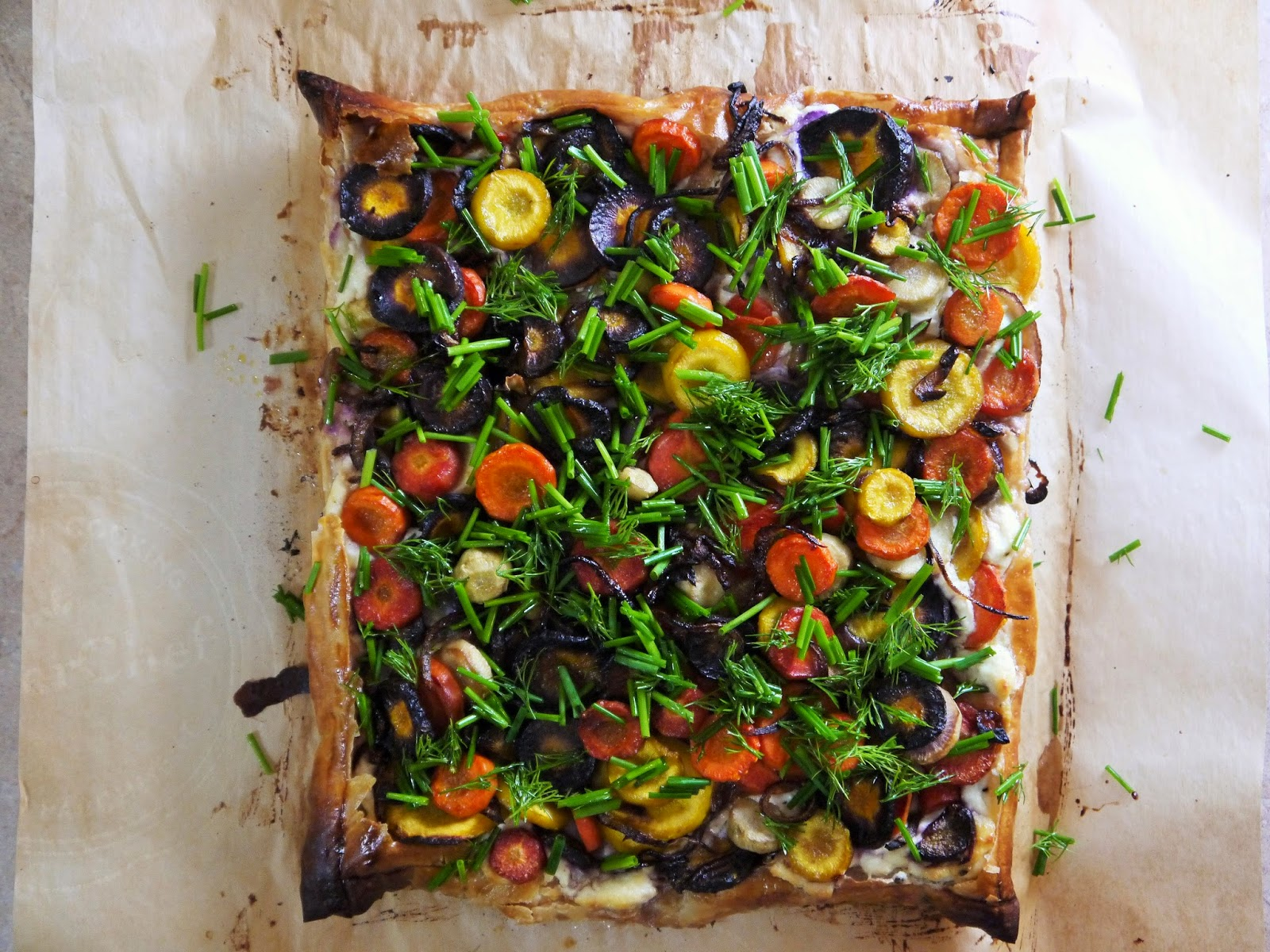 Carrot and herb tart