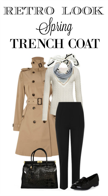 Retro style trench coat outfit for spring