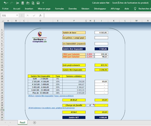 Fichier excel pour calculer le salaire Net et IR salarial