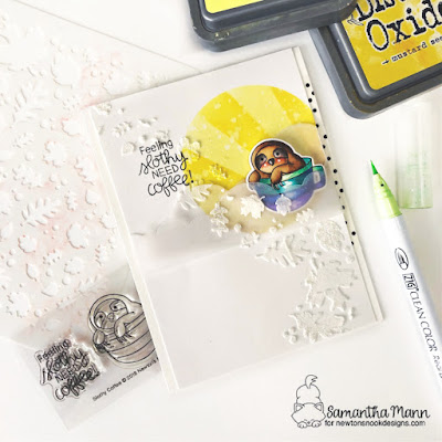 Feeling Slothy, Need Coffee Card by Samantha Mann for Newton's Nook Designs, Coffee, National Coffee Day, Blog Hop, Stencil, Embossing Paste, Cards, #newtonsnook #coffee #nationalcoffeeday #stencil #distressinks #inkblending #stencil #cards