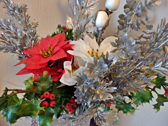 Christmas display of flowers.