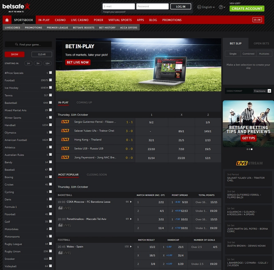 Betsafe Screen