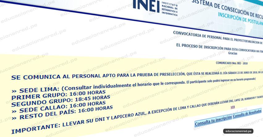 INEI: Resultado Convocatoria Operador Informático - Aplicadores y Orientadores (EVALUACIÓN DE DOCENTES MINEDU 2018) www.inei.gob.pe