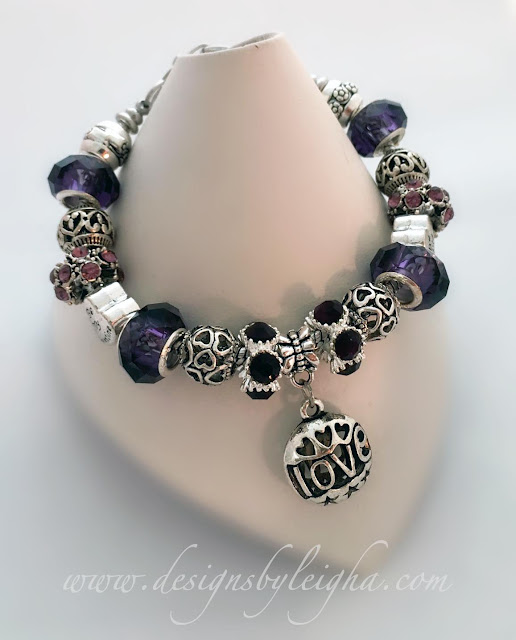 Be My Valentine Bracelet - Purple and Silver with a LOVE charm.