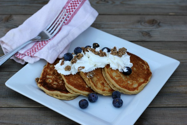 Sprouted Wheat Blueberry Pancakes with Granola