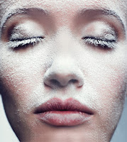 Lady with heavy powder on her skin