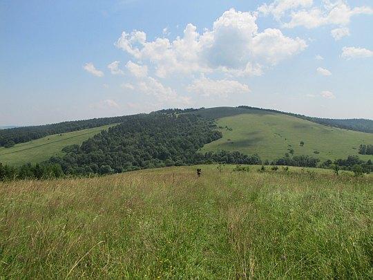 Widok z podejścia na Tokarnię - Szeroki Łan (688 m n.p.m.), a za nim Rzepedka (708 m n.p.m.).