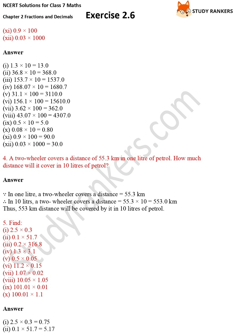 NCERT Solutions for Class 7 Maths Ch 2 Fractions and Decimals Exercise 2.6 2