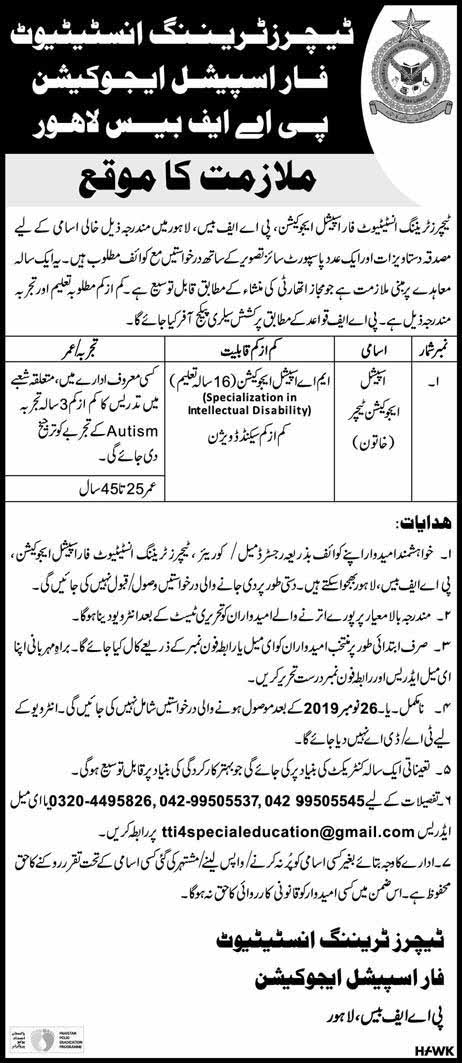 Teachers Training Institute for Special Education PAF Base Lahore Jobs 17 Nov 20119