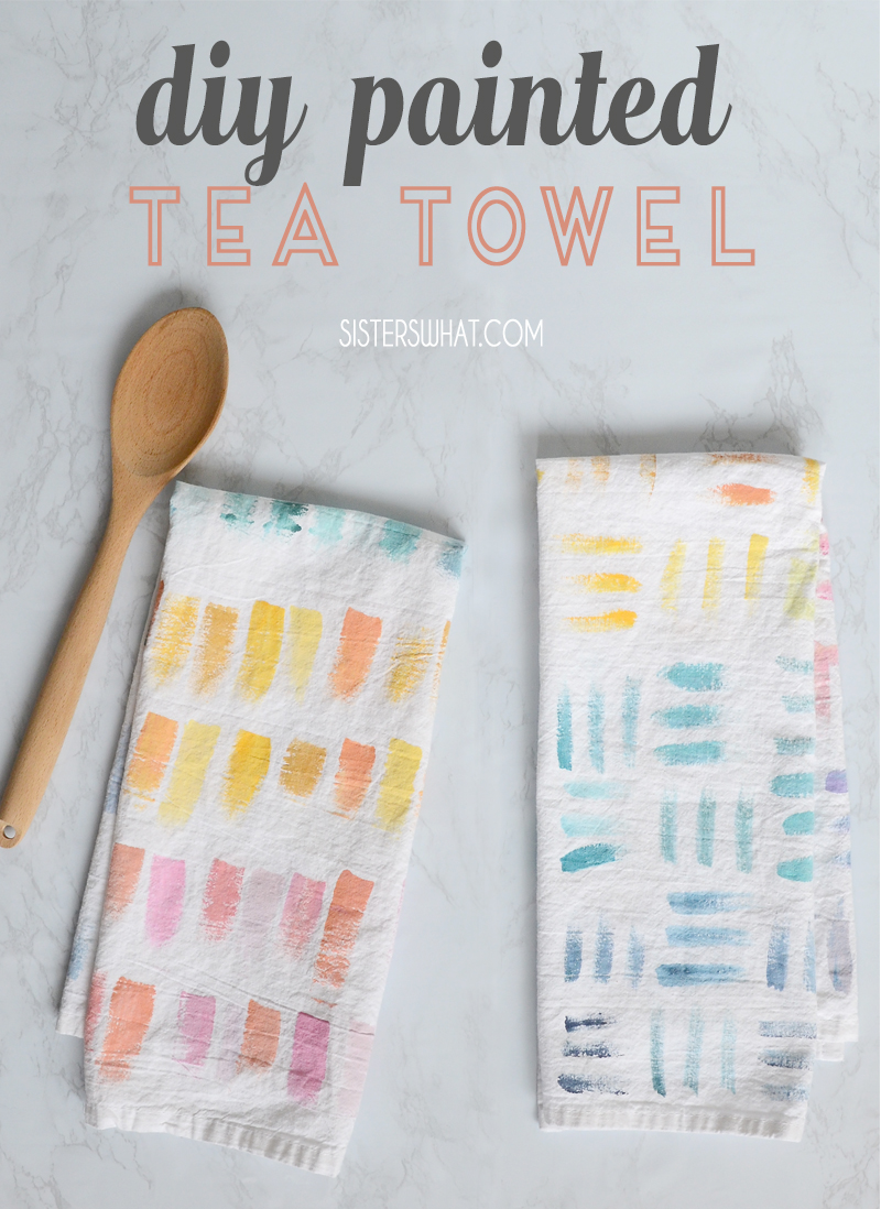 diy painted tea towel