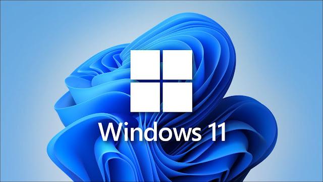 شعار Windows 11 مع ورق الحائط
