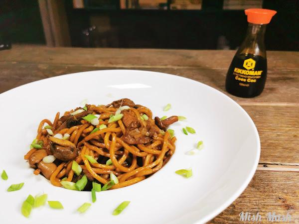 Спагети с микс от гъби и соев сос Kikkoman