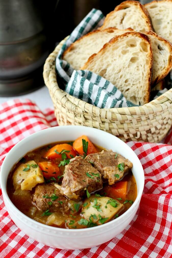 Beef stew with sourdough bread