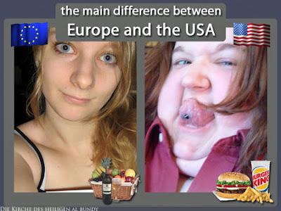 Nationenvergleich schlanke Europäerin und fette Amerikanerin lustig