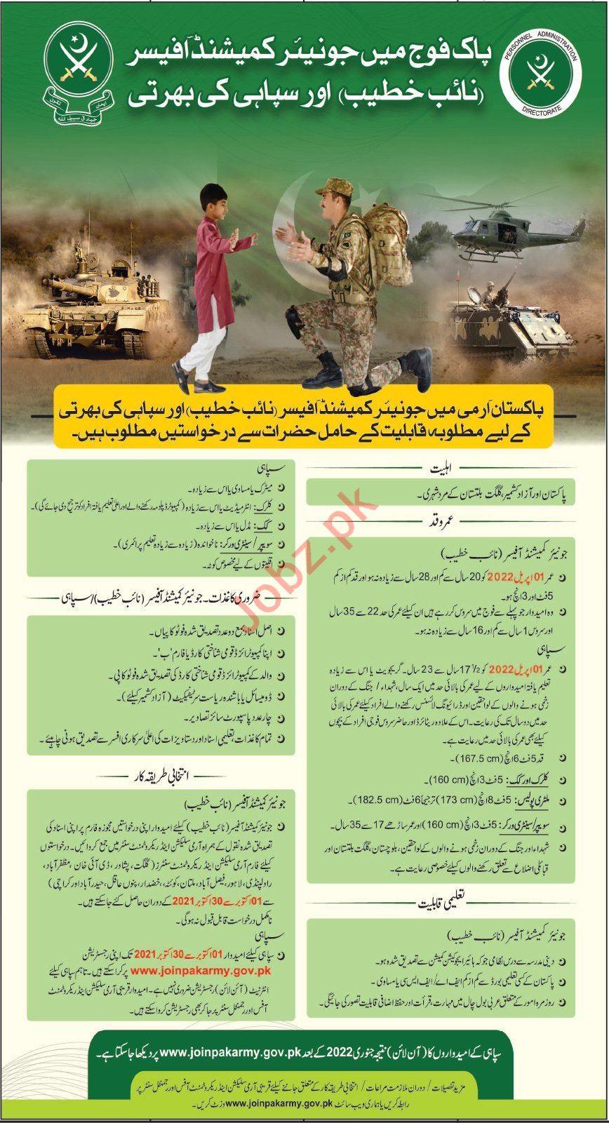 Jobs in Pakistan Army