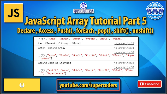 JavaScript Array Tutorial Part 5   Access   Push   Pop   Shift   Unshift   Foreach