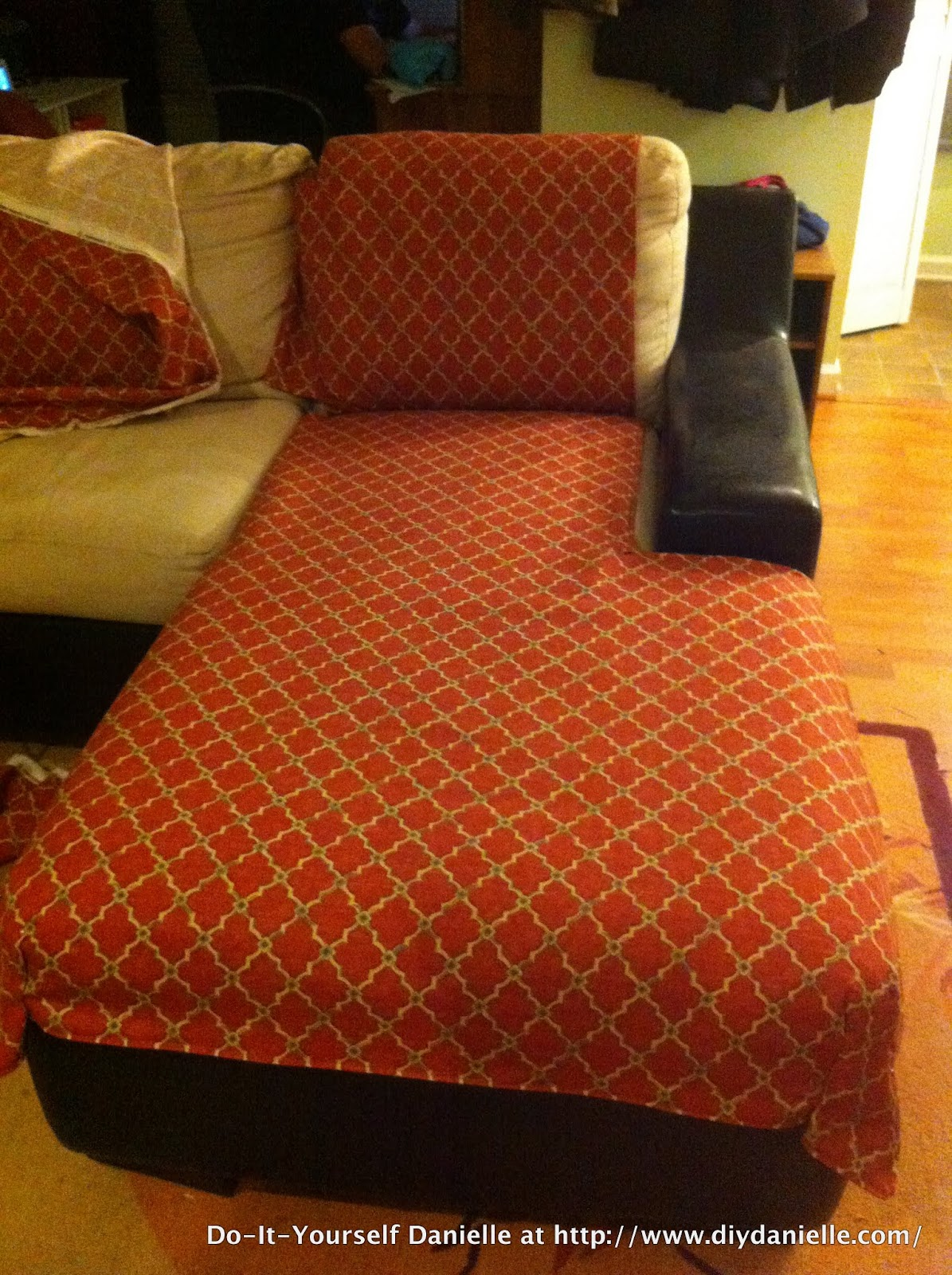 Sofa Coverings Dogs Beech Wood Table How To Sew An L Shaped Couch Cover Diy Danielle I Actually Didn T Have Enough Continuous Pieces Make The Other For Regular Part Of