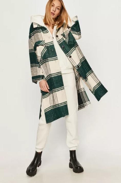 Palton lung casual de dama in carouri