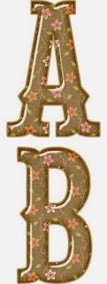Alfabeto de Flores Naranja en Fondo Marrón.