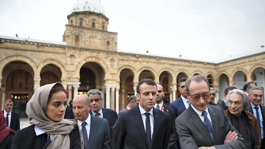 "Macron in the famous Zaitouna Mosque in Tunisia in 2018 ""AFP"