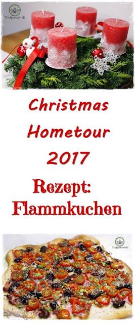Gartenblog Topfgartenwelt festliche Weihnachtsdekoration in Rot und Weiß + Rezept Flammkuchen: Christmas Hometour 2017 #Rezept #Flammkuchen #Weihnachtsdekoration #rot #weiß #Garten