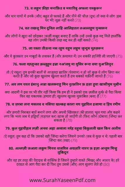 Surah Yaseen in Hindi