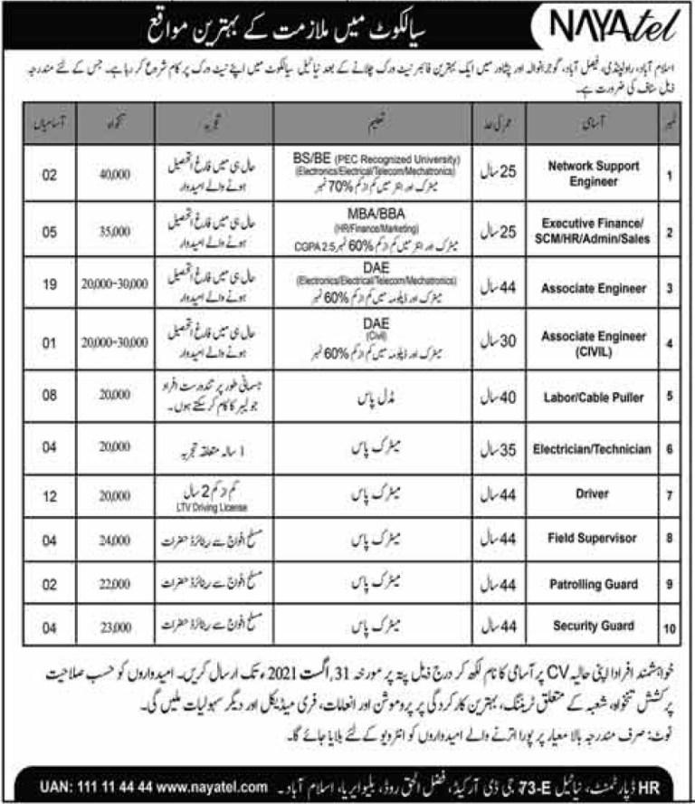 www.nayatel.com - Nayatel Private Limited Jobs 2021 in Pakistan