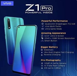 Performa Vivo Z1 Pro RAM 4GB ROM 64BG Lebih Cepat dan Tripel Camera