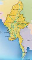 Myanmar Burma domestic airline routes