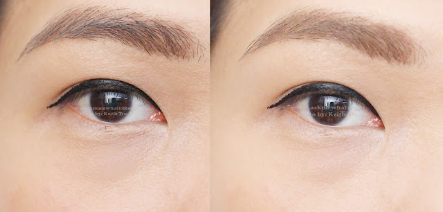 before and after photo of using Holika Holika Wonder Drawing 1sec. Finish Browcara