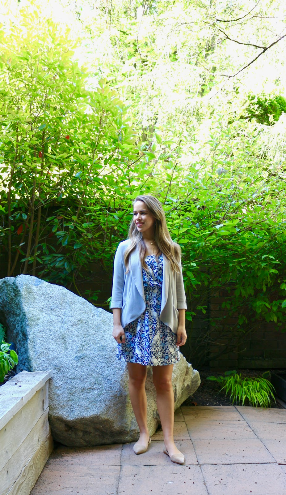 Jules in Flats - Summer Dress with Drapey Blazer (Business Casual Spring Workwear on a Budget)