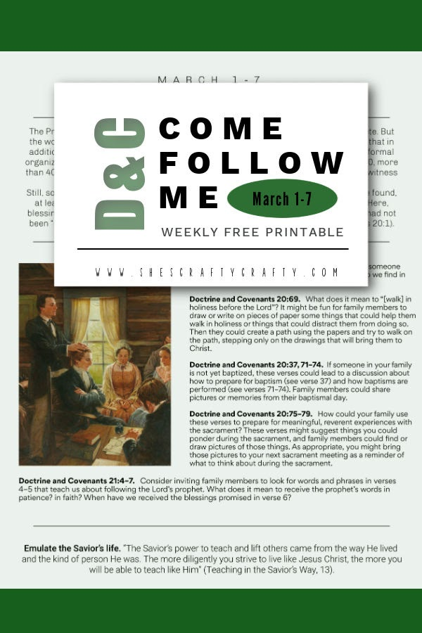 Pinnable Image - Come Follow Me Free Printable - March 1-7 - D & C 20-22