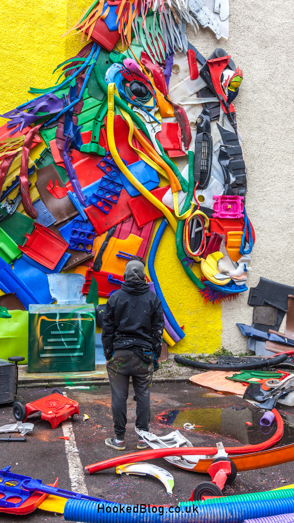 Portuguese Graffiti Artist Bordalo II's Endangered Dreams Unicorn sculpture In Aberdeen, Scotland. #streetart #Scotland #Hookedblog